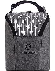 Lekebaby Double Baby Bottle Bag Insulated Breastmilk Cooler Bag, Grey