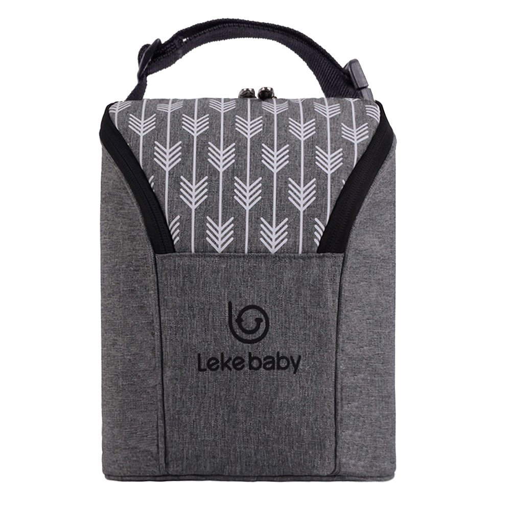 Lekebaby Insulated Baby Bottle Tote Bags for Travel Double Baby Bottle Warmer or Cool, Arrow Grey by Lekebaby