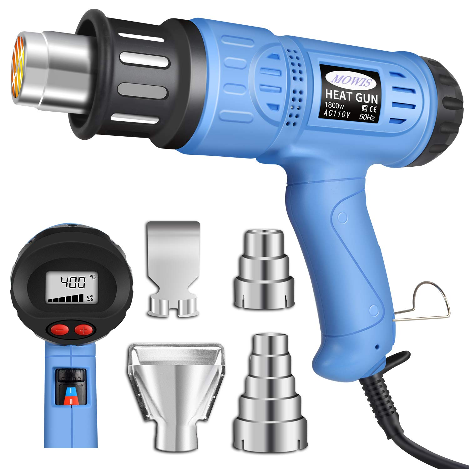 Heat Gun, Mowis 1800W Heavy Duty Hot Air Shrink Gun with LCD Display, Temperature and Wind Speed Adjustable