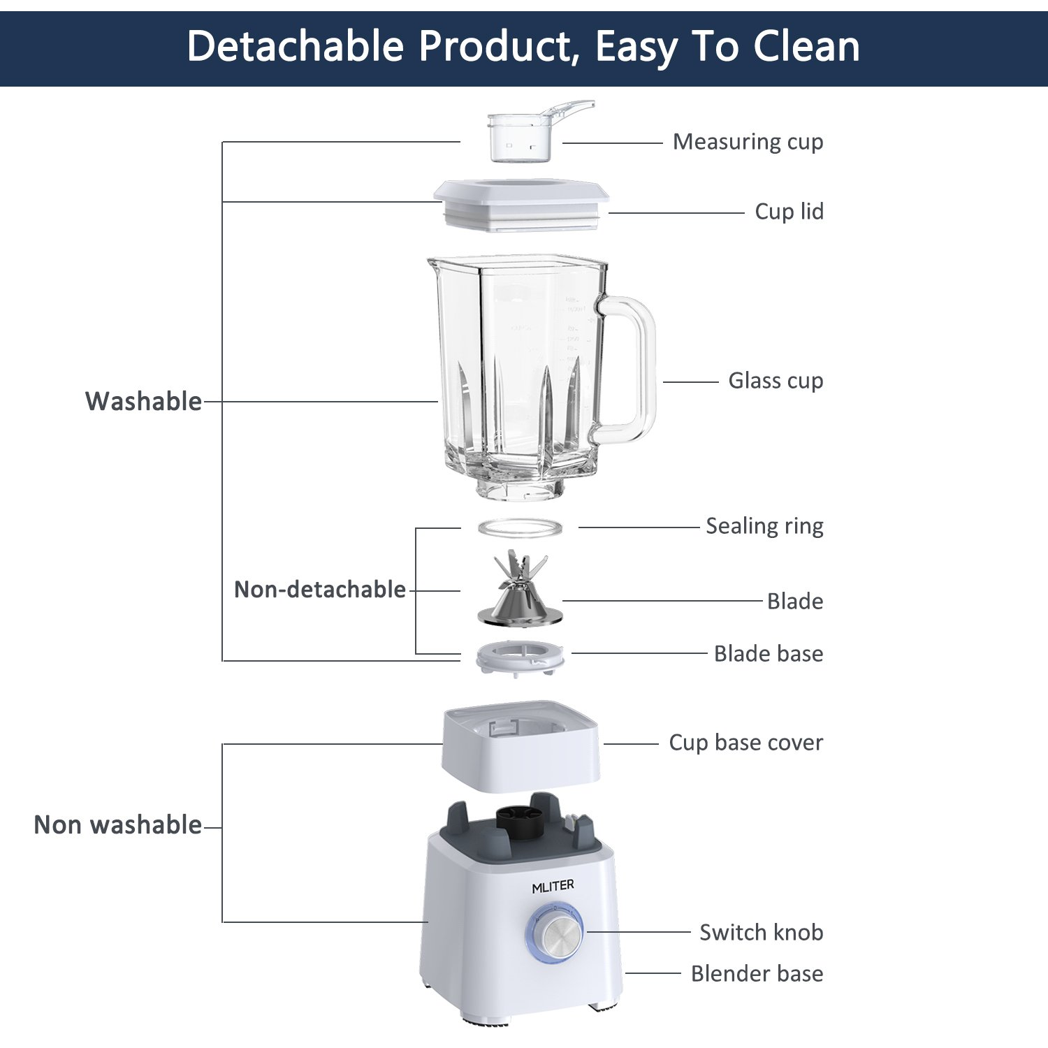 1.6L Glass Jug and 2 Speed with Pulse Function and 6 Sharp Stainless Steel Blades Juice Extractor for High Nutrient Fruit and Vegetable Juice MLITER Juicer Machine 800W White