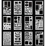 SEALEN Bullet Journal Stencil Plastic Planner Stencils 12 PCS Journal Notebook Diary Scrapbook DIY Drawing Template…