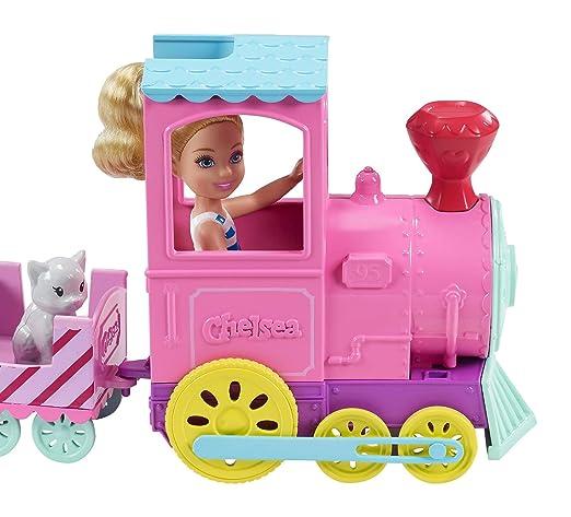 Amazon.es: Barbie Muñeca Chelsea y su tren de mascotas, accesorios muñeca (Mattel FRL86): Juguetes y juegos
