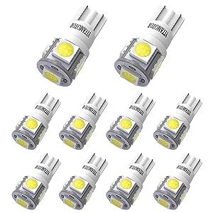 YITAMOTOR White T10 194 LED Light Bulb 6000K 168 2825 5-SMD LED Non-Polarity Car Bulbs for Interior Exterior Lights Map Door Trunk License Plate Lamp (Pack of 10)