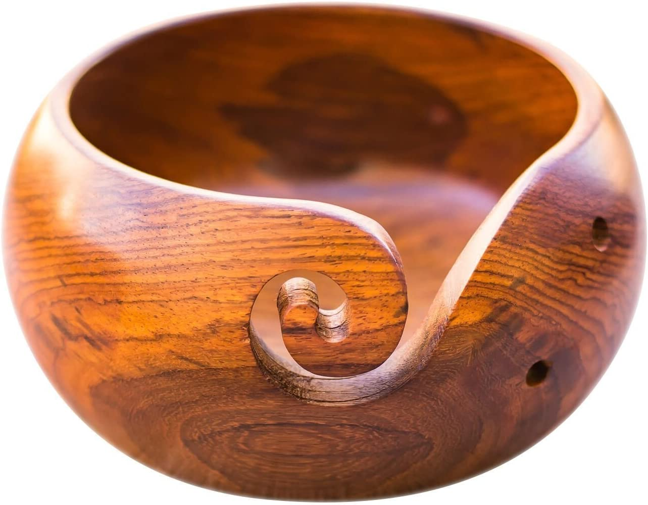 Wooden with Free Travel Pouch Naaz wood arts Yarn Bowl-6x3 Rosewood Heavy /& Sturdy to Prevent Slipping Perfect Yarn Holder for Knitting /& Crocheting Handmade from Sheesham wood