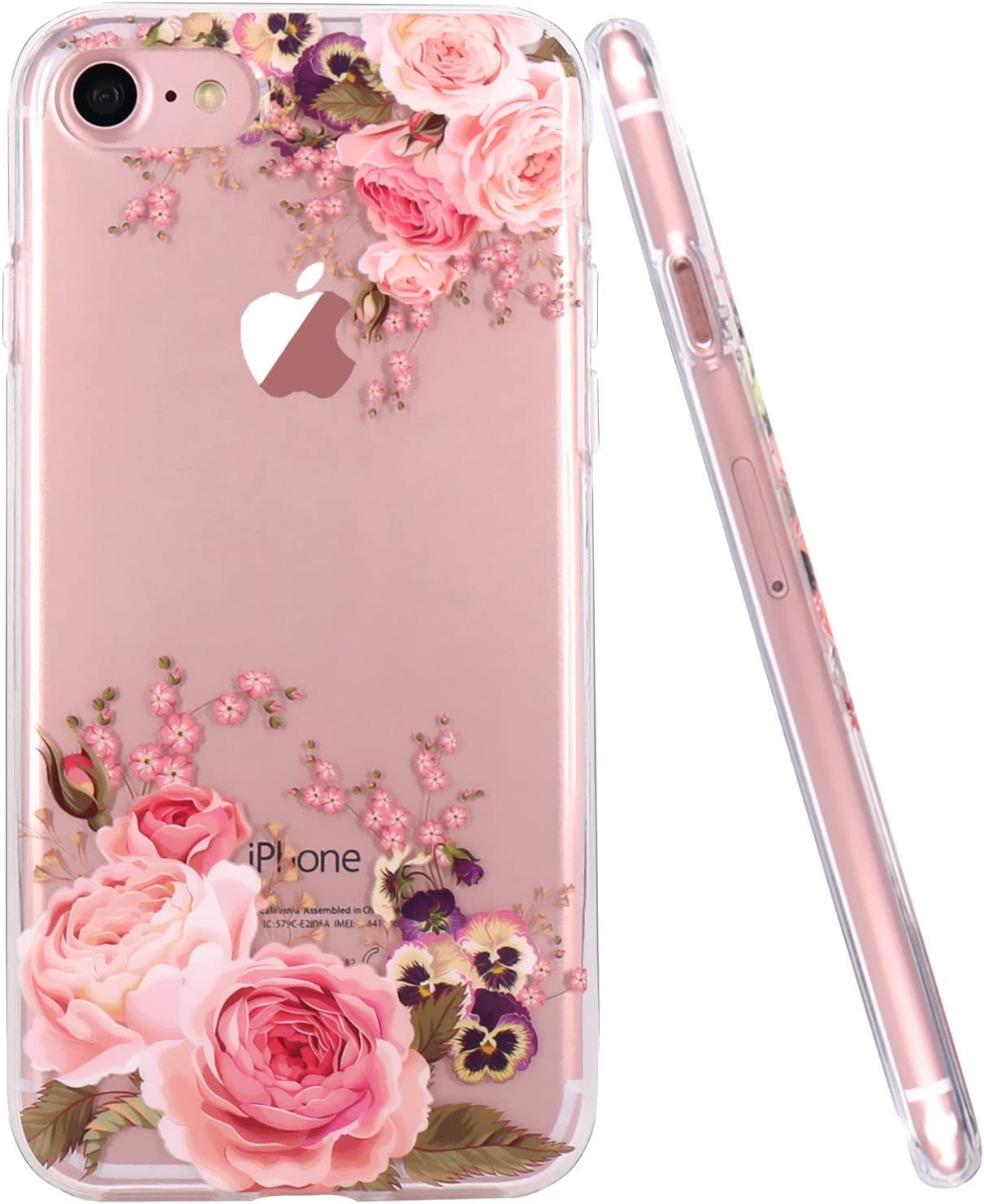 JAHOLAN Cute Girl Floral Design Clear TPU Soft Slim Flexible Silicone Cover Phone Case Compatible with iPhone 7 iPhone 8 - Rose Flower