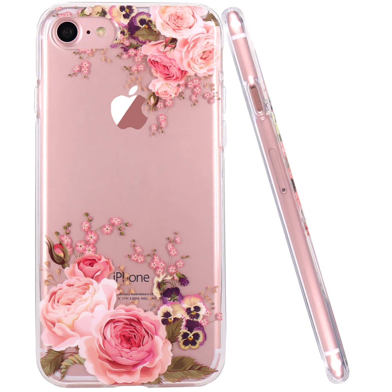 new arrival 46102 80cad JAHOLAN Cute Girl Floral Design Clear TPU Soft Slim Flexible Silicone Cover  Phone Case Compatible with iPhone 7 iPhone 8 - Rose Flower