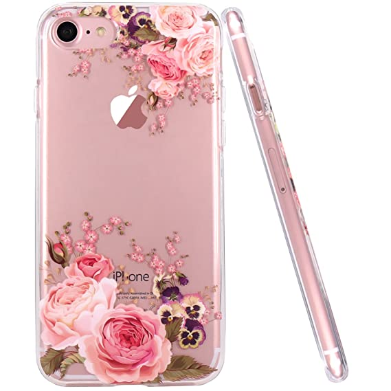 new style 46a8a ccb44 JAHOLAN iPhone 6 Plus Case, iPhone 6S Plus Case Girl Floral Clear TPU Soft  Slim Flexible Silicone Cover Phone case for iPhone 6 Plus iPhone 6S Plus -  ...