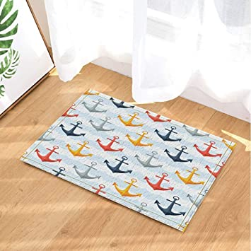 aipome nautical seamless pattern with anchors in flat bath rugs non rh amazon co uk
