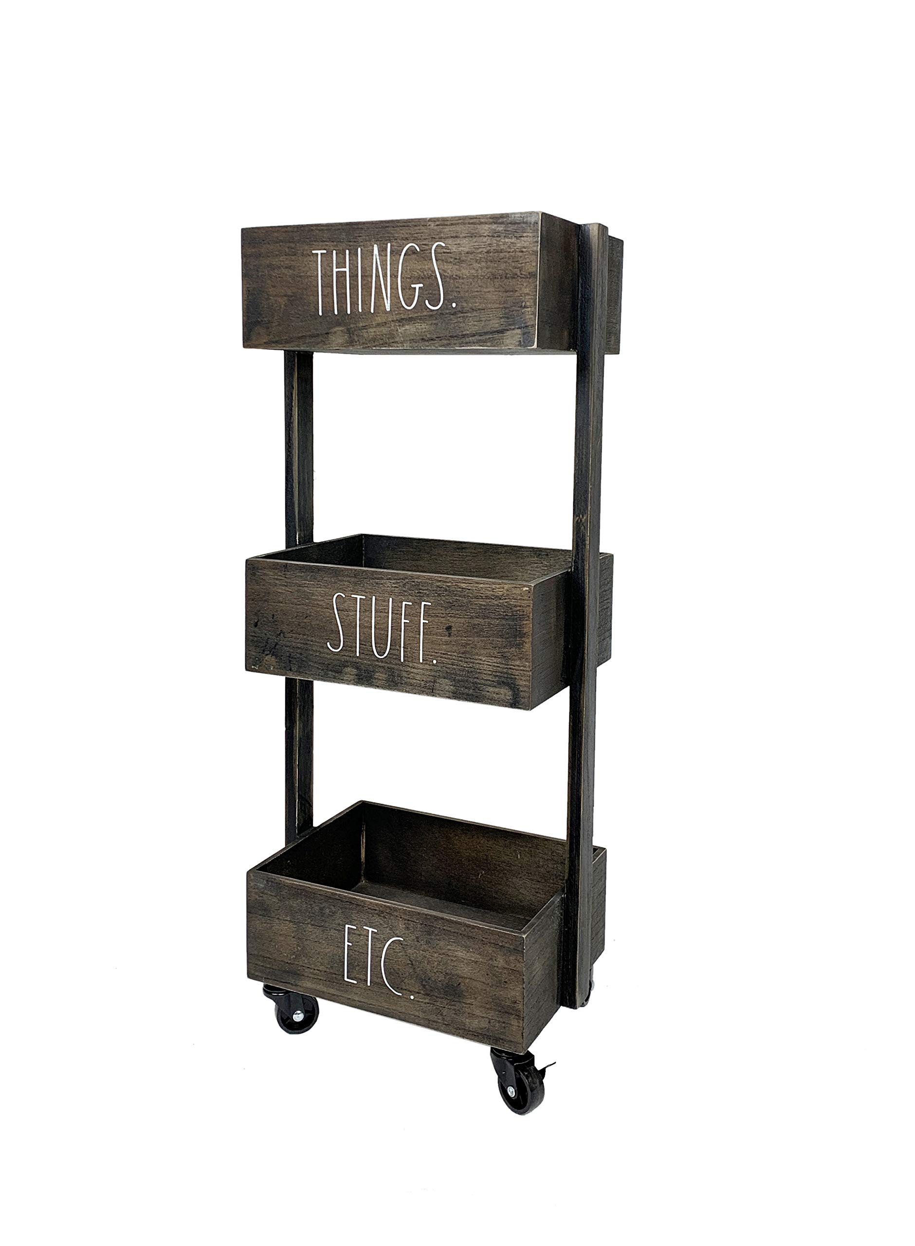 Rae Dunn 3 Tier Wheeled Organizer - Wood Caddy - Chic and Stylish Portable Wood Storage Bin for Office, Home or Kitchen by Rae Dunn