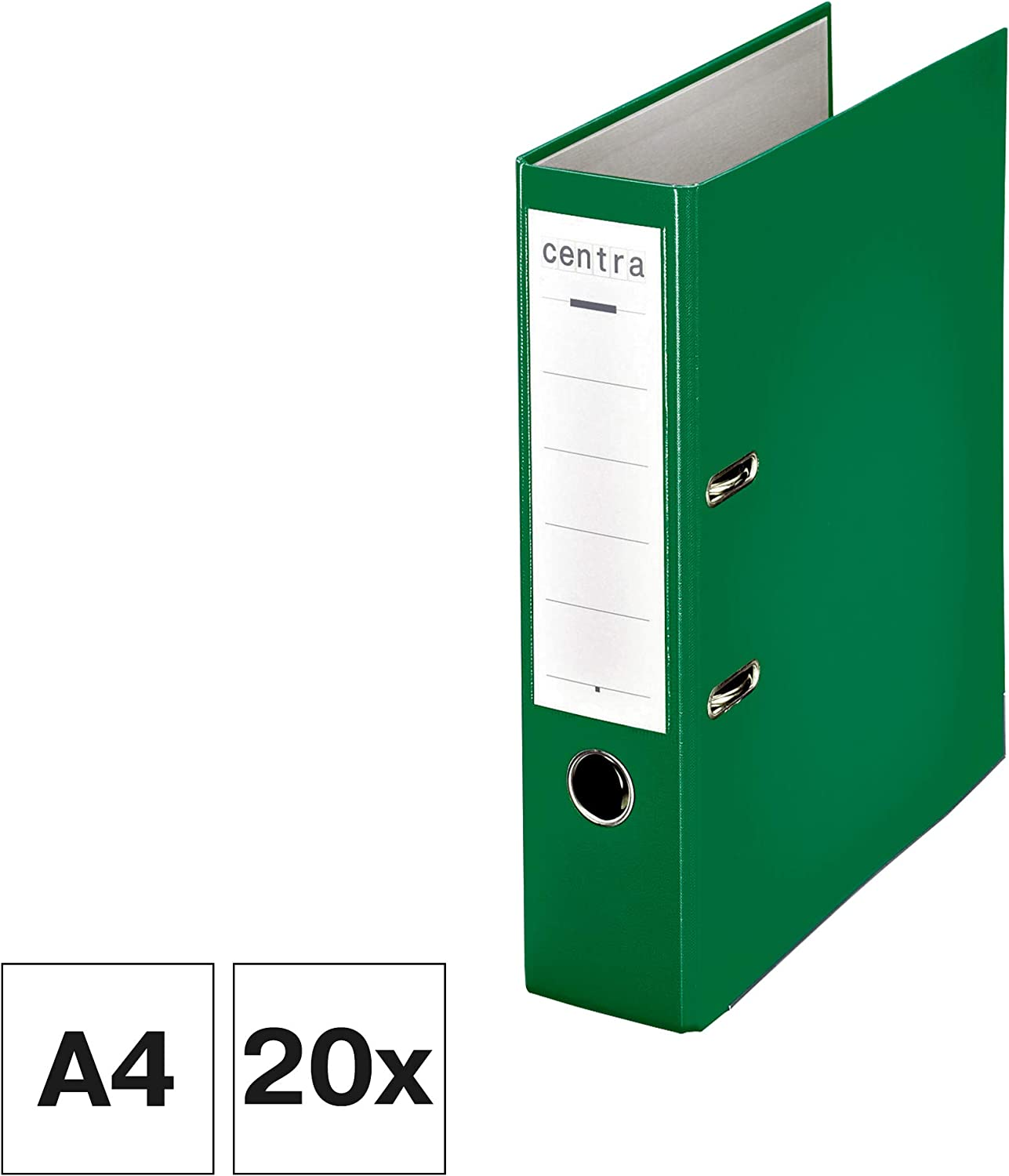 Green Pack of 20 Centra Chromos A4 80mm Lever Arch File