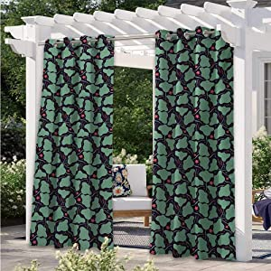 Adorise Print Outdoor Curtains Aquatic Fauna with Stingrays and Starfishes on Dark Background Waterproof Outside DéCor for Cabana Corridor Garden Sun Room Sea Green Multicolor W108 x L84 Inch