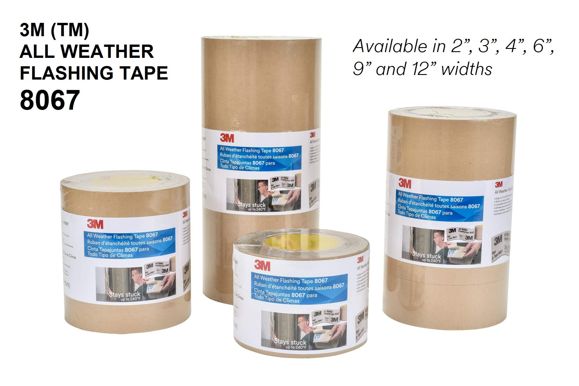 3M All Weather Flashing Tape 8067 Tan, 12 in x 75 ft Slit Liner (1 roll) by 3M (Image #4)