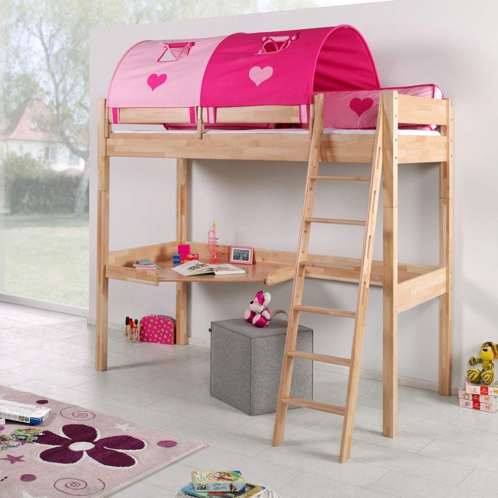 Pharao24 Massivholz Kinderhochbett aus Buche Tunnel in Pink Rosa