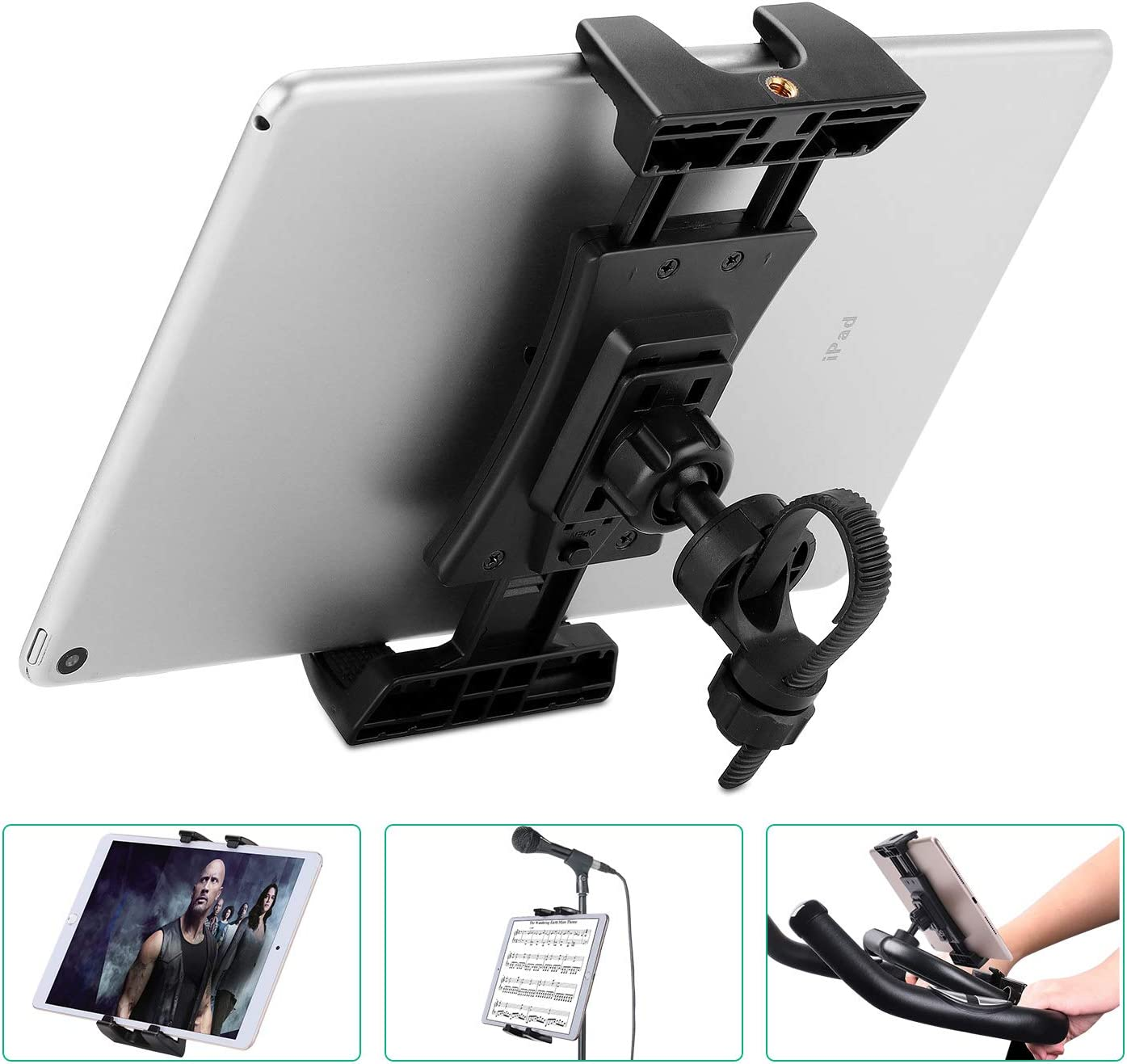 Bike Tablet Holder, Portable Bicycle Car Phone Tablet Mount for Indoor Gym Treadmill