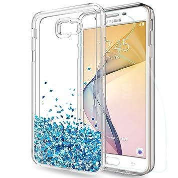 f0d4c93ee82 LeYi Compatible con Funda Samsung Galaxy j7 Prime Silicona Purpurina Carcasa  con HD Protectores de Pantalla