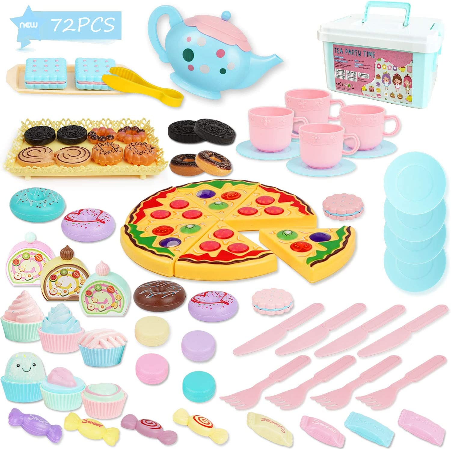 BGdoyz Kids Tea Time Set Princess Toy, 74 Pieces Pretend Play Food Set Tea Party Playset Accessories, Including Plastic Teapots Teacups Cookies Cakes Donuts for Toddlers,Boys Girls