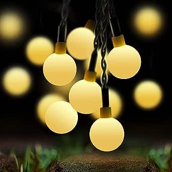 60 LED 10M Cadena Solar de Luces, IP65 Impermeable 8 Modos Luces Decorativas, Guirnalda Luces Exterior Luminosas para Exterior,Interior, Jardines, Casas, Boda, Fiesta de Navidad (Amarillo): Amazon.es: Iluminación