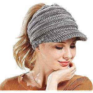 9eeac6be6b80 MYMYU Women Hat Knit Skull Beanie Winter Outdoor Runner Messy Bun Ponytail  Cap Adjustable