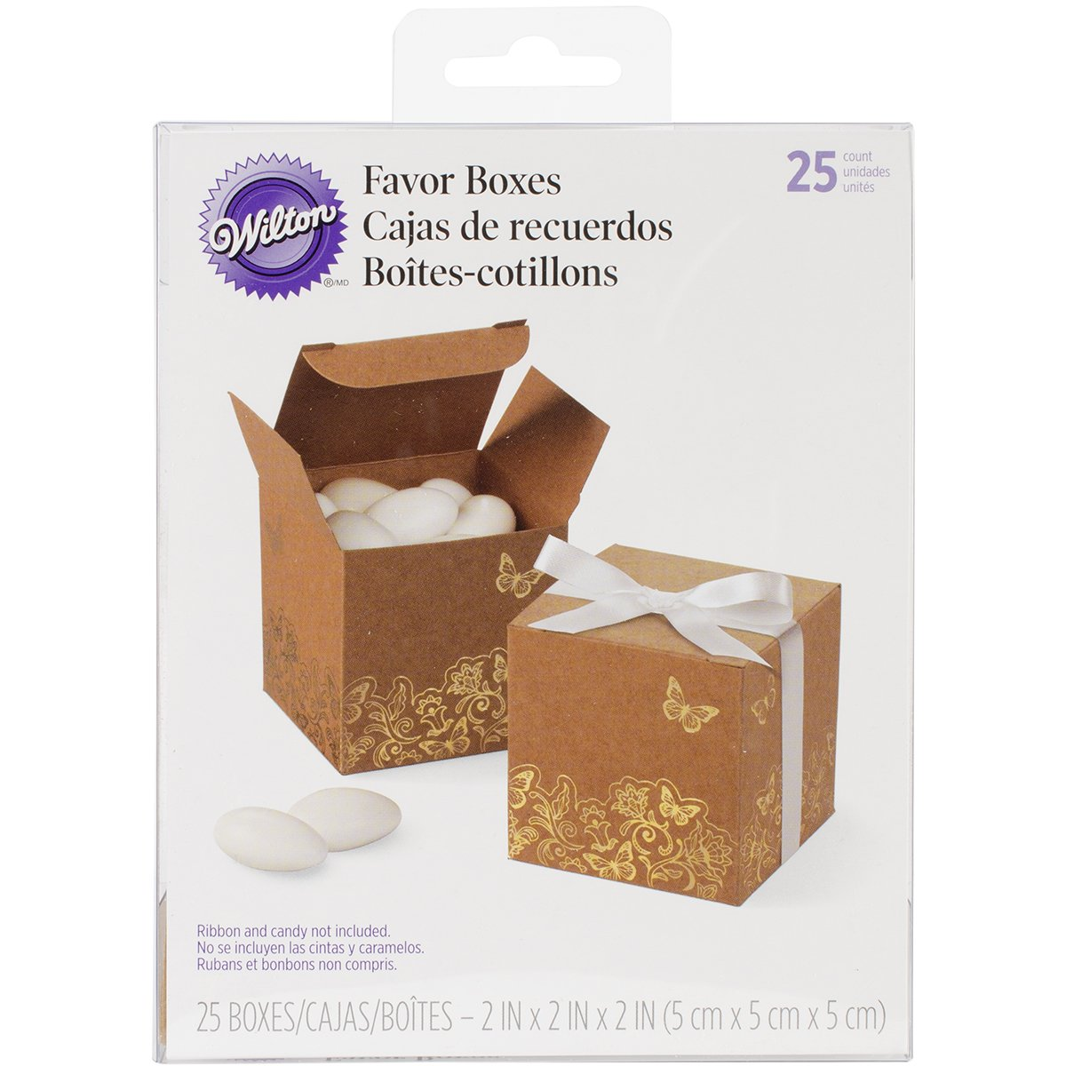 Wilton 415-2211 Square Kraft Box with Gold Foil for Wedding, 25/Pack