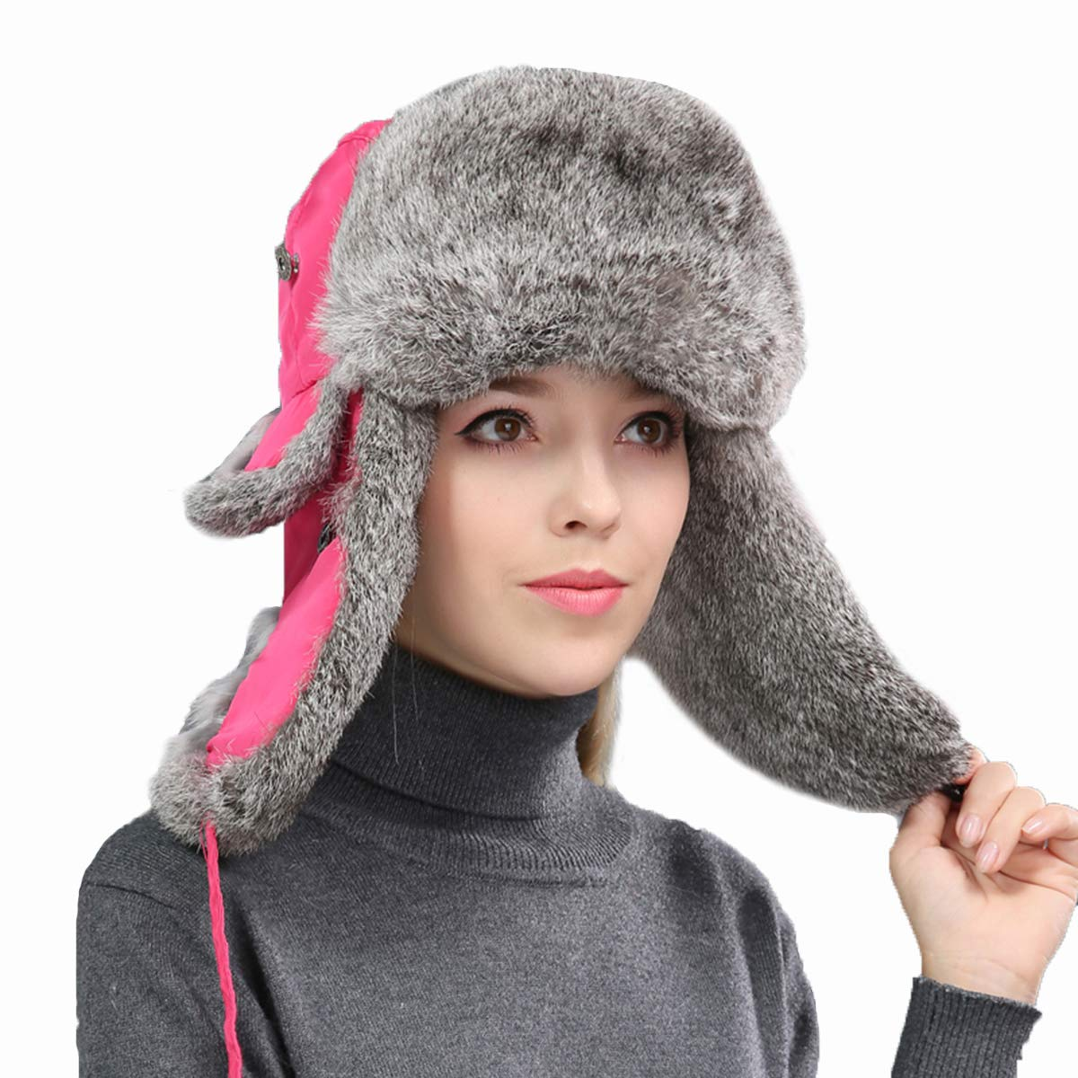 Real Rabbit Fur Bomber Hat for Men and Women with Earmuff Winter Warm Oudoor (Rose + Gray,M)