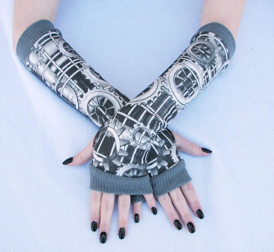 Steampunk Clockworks Arm Warmers Fingerless Gloves