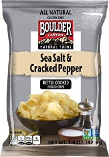 product image for Boulder Canyon, Sea Salt & Pepper Kettle Cooked Chips, 1.5 oz. (55 Count)