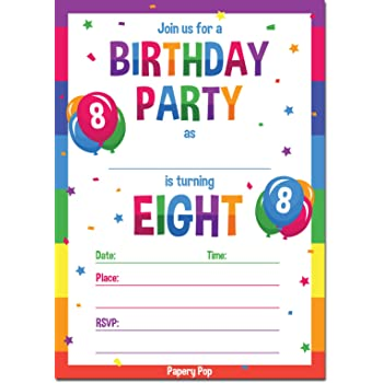 8th Birthday Party Invitations With Envelopes 15 Count