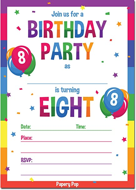 Amazon.com: Papery Pop 8th Birthday Party Invitations with ...