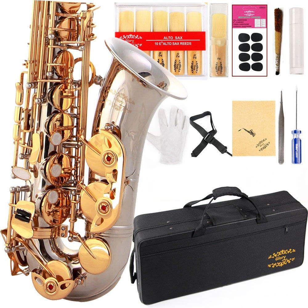 Saxofon Alto Plateado/llaves Doradas Glory Con Funda (xmp)