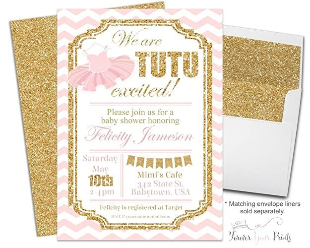 Superb Tutu Baby Shower Invitations With Pink And Gold Glitter Accents