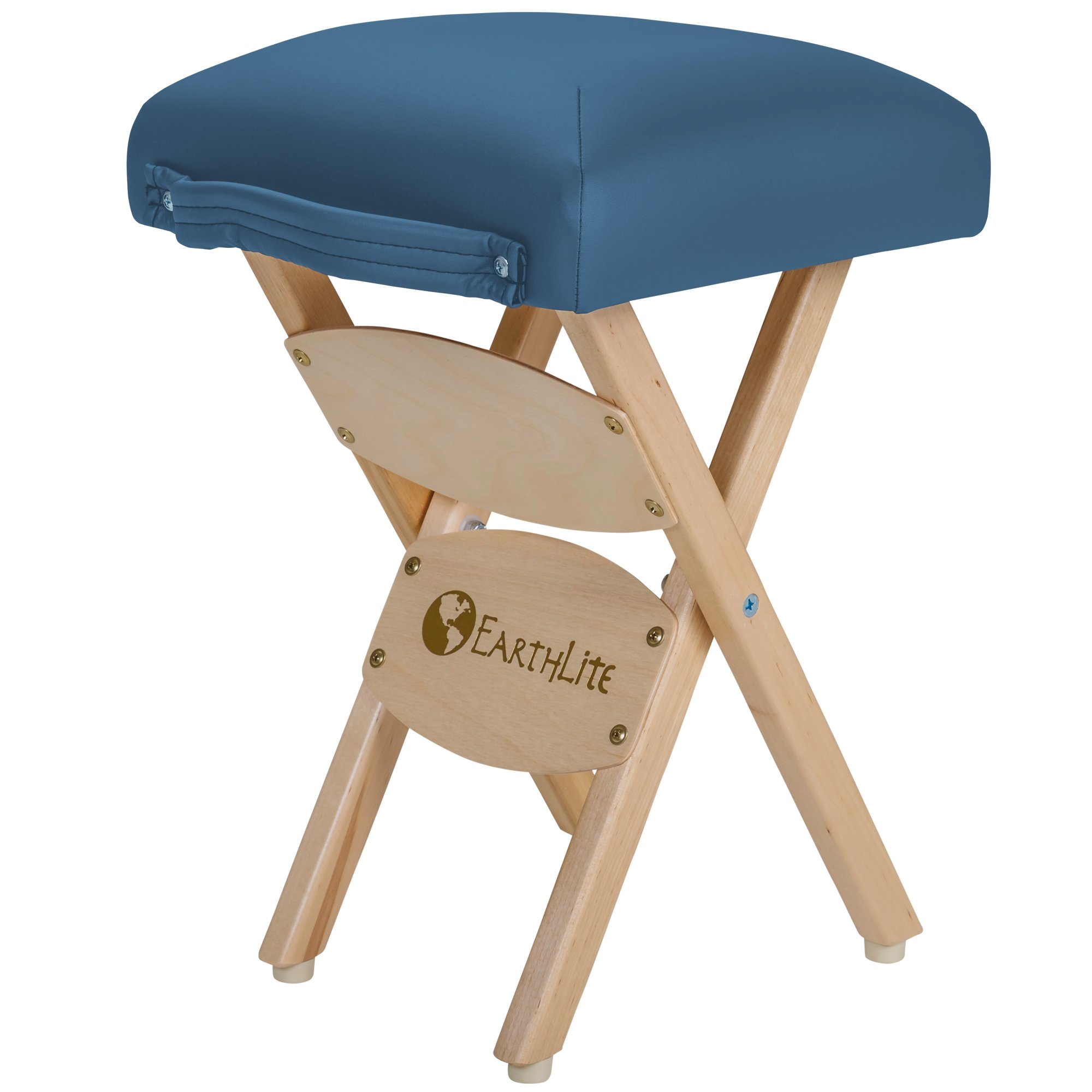 EARTHLITE Wooden Folding Stool - Hardwood Maple, CFC-Free, Massage Table Medical Spa Facial Salon Chair, Mystic Blue by EARTHLITE