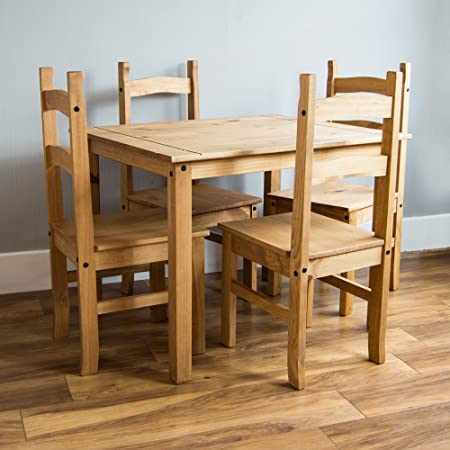Home Discount Corona Dining Set 4 Seater, Solid Pine Wood, Rustic Wax  Finish,