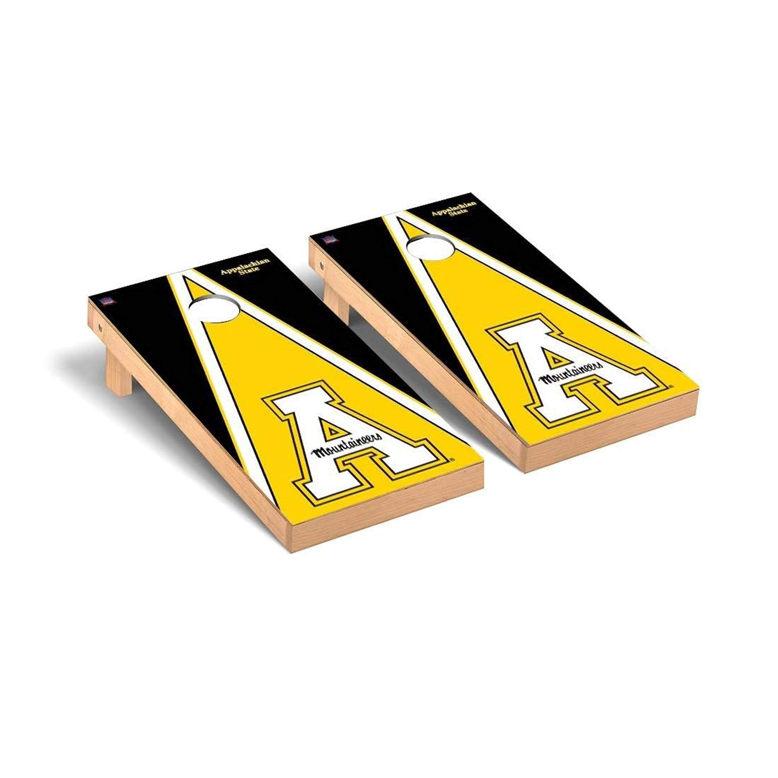 Victory Tailgate Regulation Collegiate NCAA Triangle Series Cornhole Board Set - 2 Boards, 8 Bags - Appalachian State Mountaineers Black Triangle by Victory Tailgate
