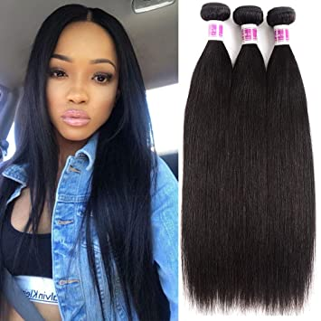 Synthetic Hair Weaves Yaki Straight Hair 6 Bundles With Lace Closure XTRESS