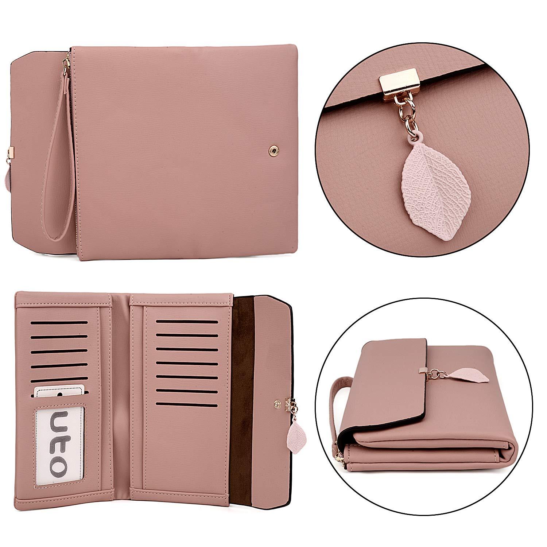 UTO Women PU Leather Wallet Large Capacity Leaf Pendant Card Phone Holder Checkbook Organizer Girls Zipper Coin Purse CA