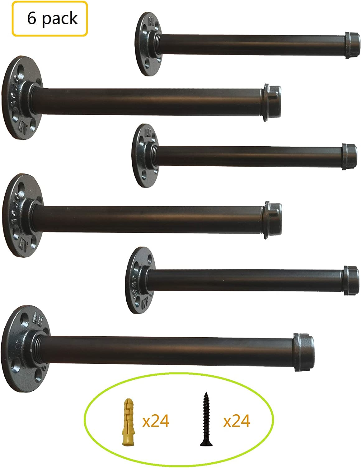 Industrial Black Iron Pipe Shelf Brackets 10 Inch Set of 6,Heavy Duty Industrial Pipe Decor Floating Shelf Brackets,Garment Rack, Coated Finish.Hardware Included