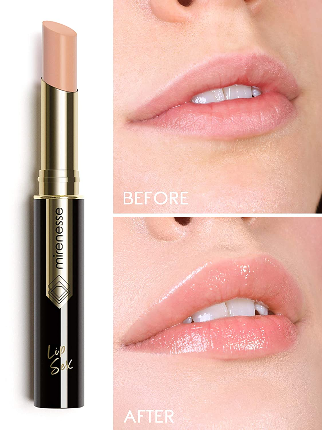 Mirenesse Lip Sex Plump & Fill Tint, Hydrating Plumping Lipstick Balm with Tint and Vitamin C + Vitamin E, Vegan and Toxin Free, 3 Passion Peach .07 oz