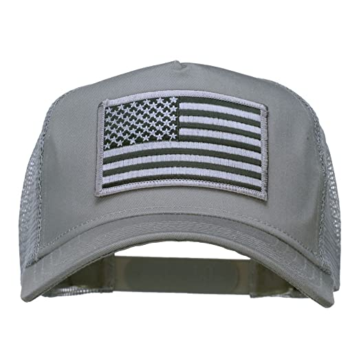 E4hats American Flag Patch Mesh Cap - Grey OSFM at Amazon Men s ... e38b0f0b6ed