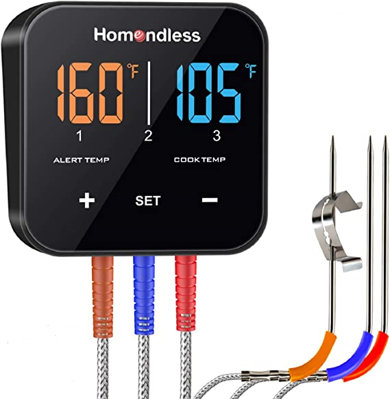 Wireless Thermometer Bluetooth APP Controlled with 3 Probes