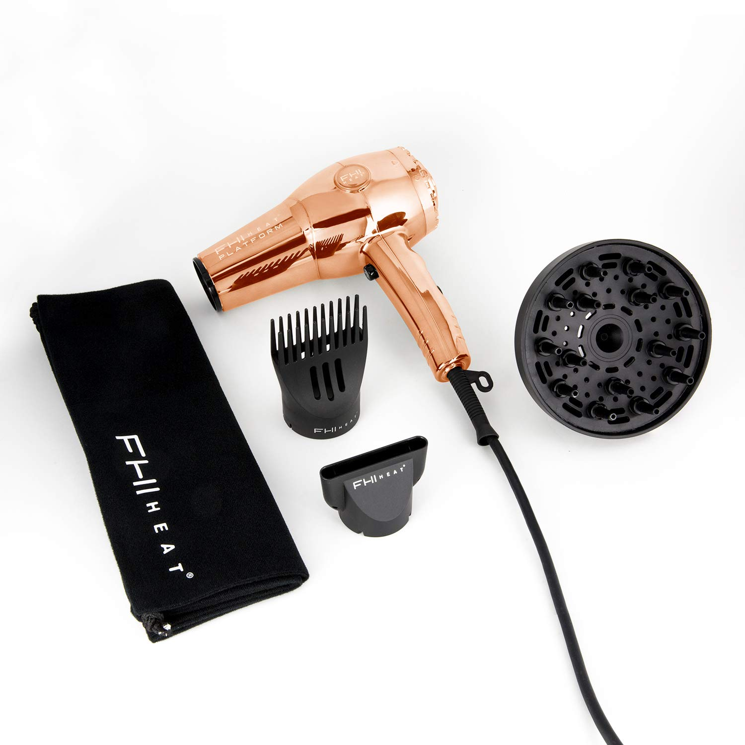FHI HEAT Platform Nano Lite Pro 1900 Turbo Tourmaline Ceramic Hair Dryer, Rose Gold, Chrome Edition