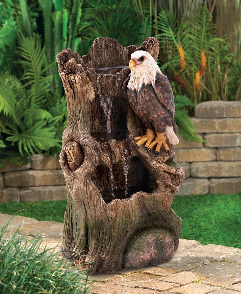 Fountains Stunning, Majestic American Bald Eagle Strength Indoor & Outdoor Water Fountain