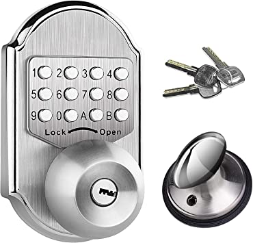Elemake Keyless Door Lock Deadbolt Entry Door Knob Keypad Digital Combination Higher Security Keypad Door Knob Mechanical Stainless Steel 304 Pass Code Or Key Amazon Com