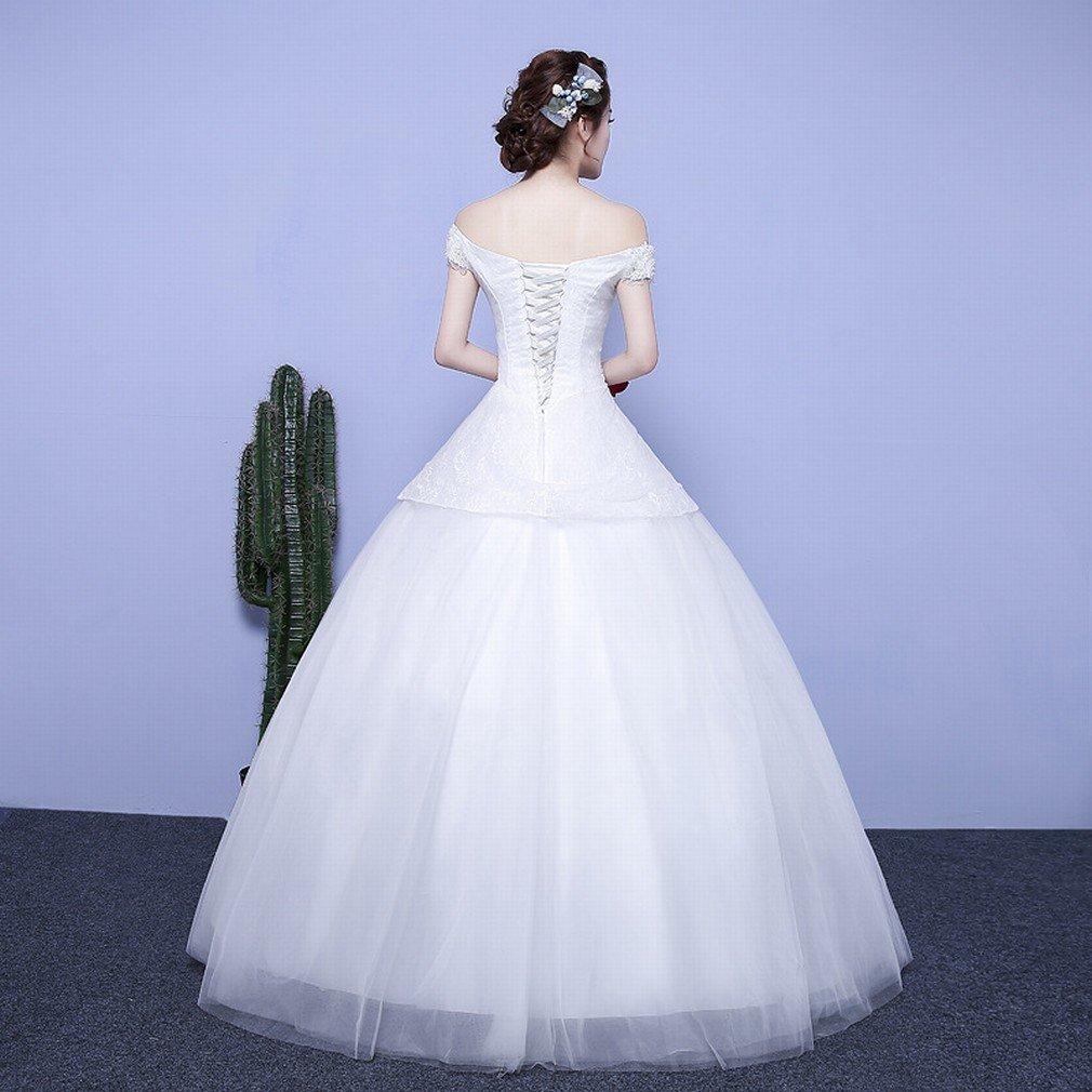 Novia Casada Vestido de Novia Palabra Hombro Mangas Largas Remolque de Encaje Vestido de Novia Delgada,UN,METRO: Amazon.es: Hogar