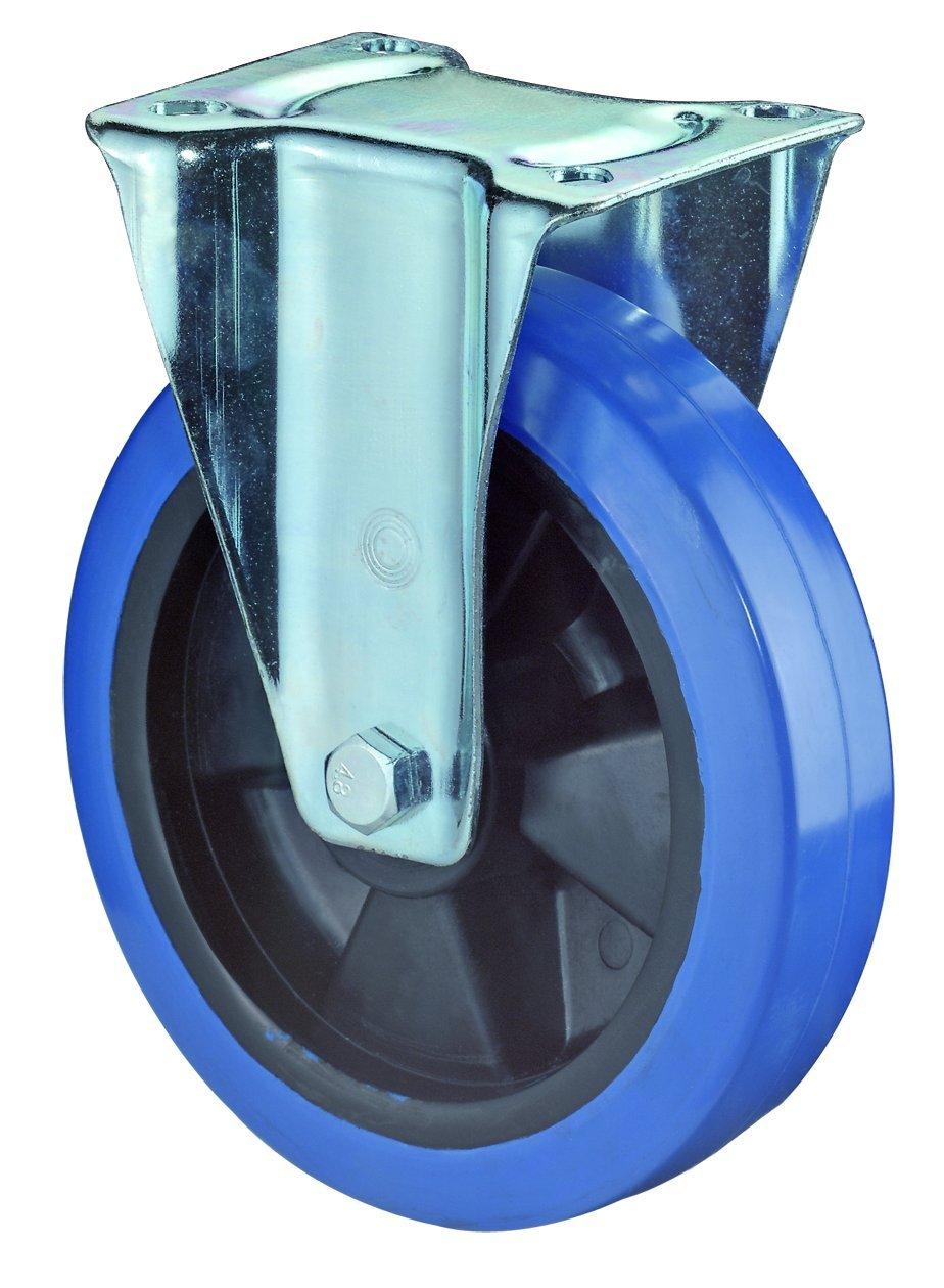 BS Rollen Transport-Bockrolle, Anschraubplatte, Elastik Gummirad, Kunststoff Radkö rper, 100 mm, blau, L410.B61.101