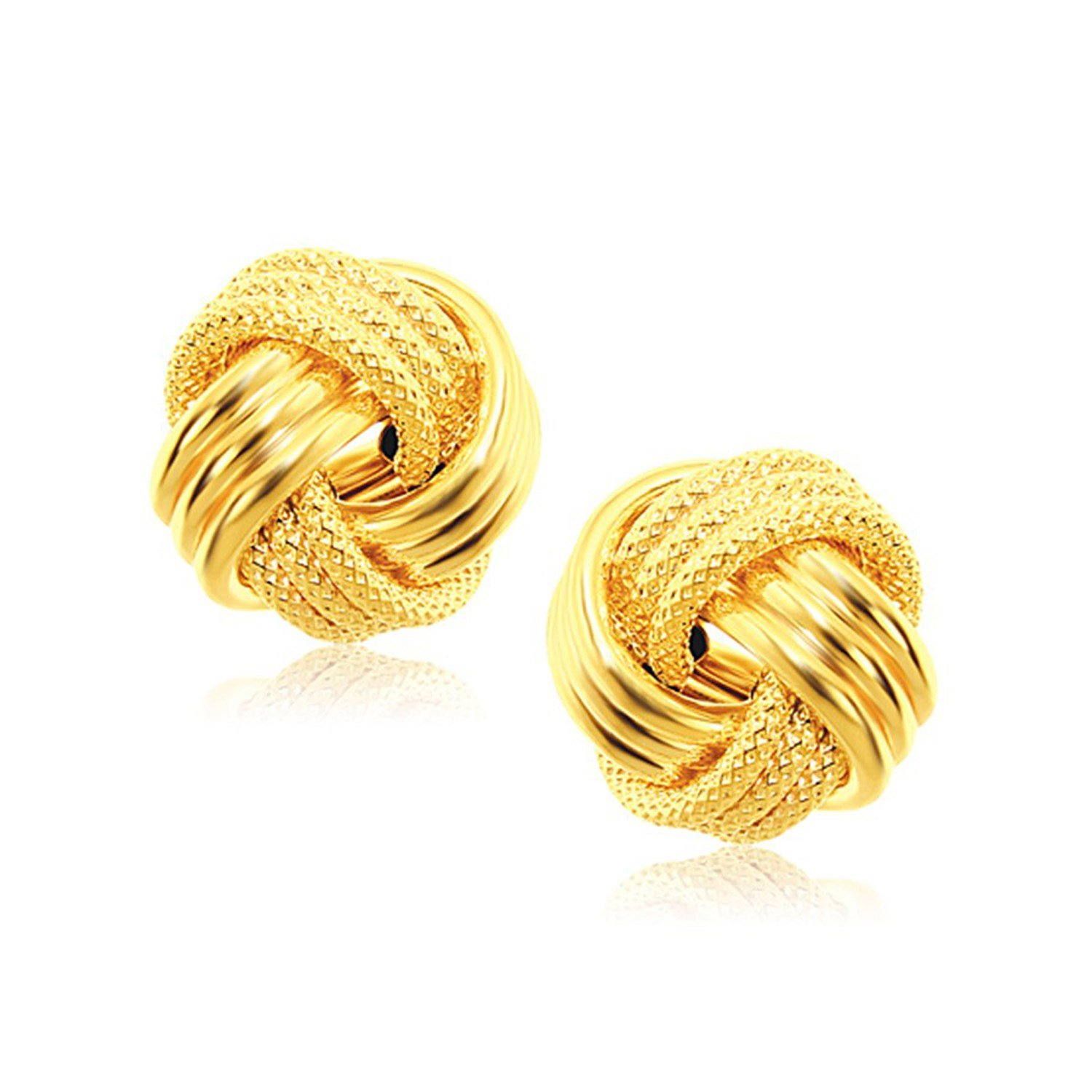 MCS Jewelry 14 Karat Rose, White OR Yellow Gold Love Knot Earrings (9 mm Diameter) (yellow-gold)