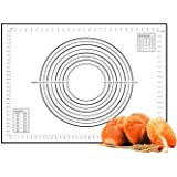 Large Silicone Baking Mat, TERSELY Professional Non Stick Dough Mat with Measurement for Pastry Rolling and Other Recipes & Desserts 60cm x 40cm (Black)