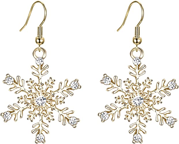 Argent Boucles D/'oreilles Clou Étoile Flocon de Neige Strass Cristal Fête de Noël Bijoux