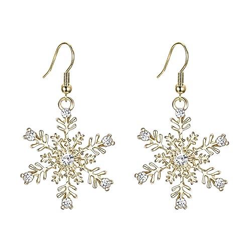 14bef3432 EVER FAITH Women's Austrian Crystal Winter Party Snowflake Pierced Hook Dangle  Earrings Clear Gold-Tone