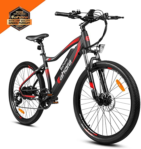 eAhora XC100 26 Inch Mountain Electric Bikes for Adult 48V 350W Cruise Control Electric Bicycle for Urban Commuting with Removable Lithium Battery, E-PAS Recharge System, Shimano 7-Speed Gear Shifts