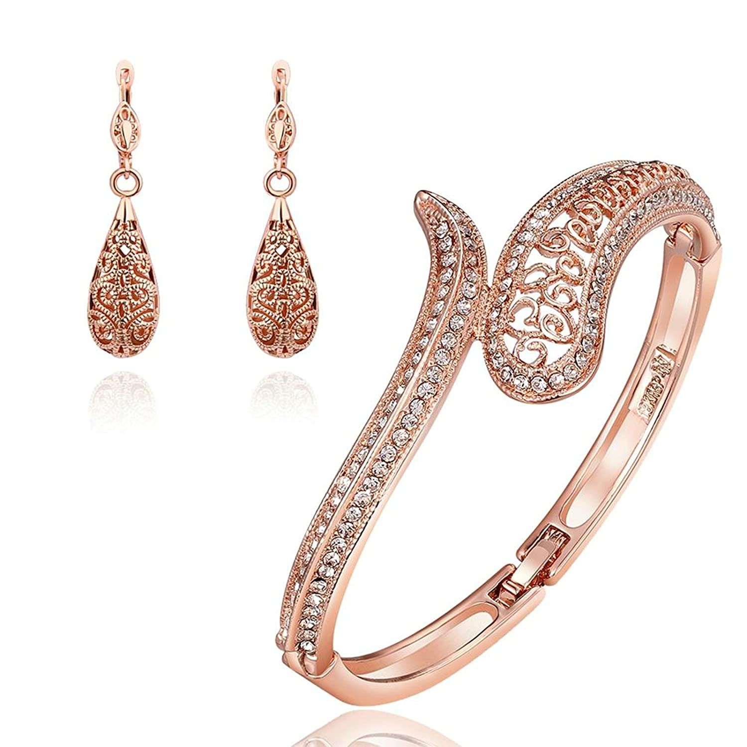 Gnzoe Fashion Jewelry Womens Bracelet Earring and Necklace Sets Rose Gold Teardrop Hollow